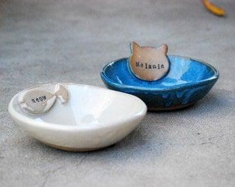 Personalized Cat Bowl, Named Pet Bowl, ceramic Pet Dish, Personalized, Bowl With Name, Handmade Pet Bowl, Ceramic Pottery