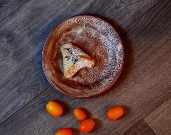 Handmade Ceramic Plate, Stoneware Dessert plates, Ceramic Textured Dessert Plate