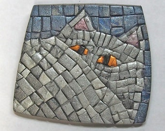 Cat Art, Cat Brooch, Silver and Blue Mosaic, Converts to Pendant.  Polymer Clay, Pati  Bannister Original.
