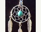 SALE Turquoise dreamcatcher necklace BLUE SKY ll -Dream catcher necklace with Turquoise, dreamcatcher necklace, silver feathers