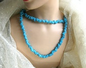 Vintage Necklace Flat Faux Turquoise Beads 46 Inch Vintage 70s Costume Jewelry