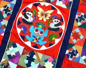 Amazing Vintage 80s Panda Bear Weird Bug Red Patchwork Wall Hanging Blanket