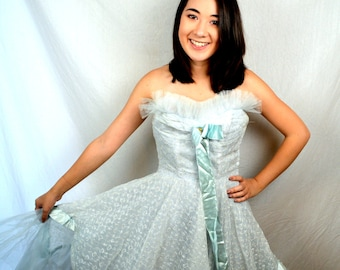 Vintage 1950s 50s WOW Tulle Strapless Sweetheart Party Dress