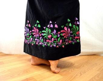 Vintage 1960s 60s Embroidered Hippie Neon Psychedelic Velvet Rainbow Maxi Skirt - Malbe Original