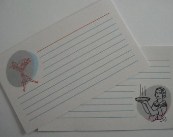 Recipe Cards -- Retro design, Set of 10 3x5
