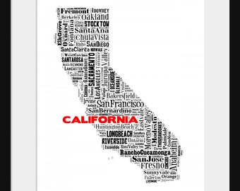 California Typography Map Poster Print 2