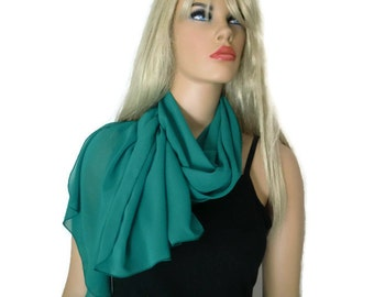 Solid green chiffon scarf Long chiffon scarf-Solid  green chiffon scarves-Parisian Neck Tissu