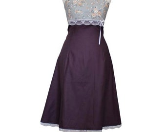 LILOU - Dress, aubergine, purple, violet, bridesmaid dress, lace dress, strapless, knee length, gown, lace, flowers, prom
