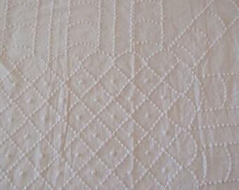 "Vintage Chenille Fabric - White handmade chenille popcorn - 36"" x 39"" - 300-10"