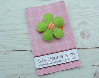 ONE DOLLAR CLIP Lime Green Flower with Orang Gingham Center Baby Snap Clip No Slip