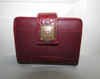 Vintage Brighton Dark Red Leather Wallet Clutch Purse - currency, ids, credit cards, change compartments