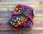 Heart Strings Polyester PUL Cloth Diaper Cover With Aplix Hook & Loop Or Snaps You Pick Size XS/Newborn, Small, Medium, Large, or One Size