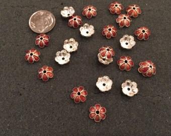 25 Daisy silver tone/brown enamel bead Caps/Spacers