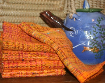 Cotton Kitchen Towels in Orange - Eco-Friendly Hand Towels - Orange Woven Towel
