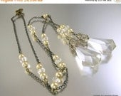 Love Yourself Sale Art Deco Negligee Necklace with Clear Crystal Drops and Champagne Colored Pearls
