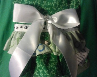 Dog dress medium 3 tier green floral with lime green fabric and whiye bow