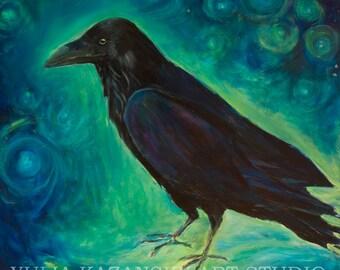 Star Raven Large canvas art print of original acrylic painting Raven art Dream black raven Stars blue painting Surreal art print