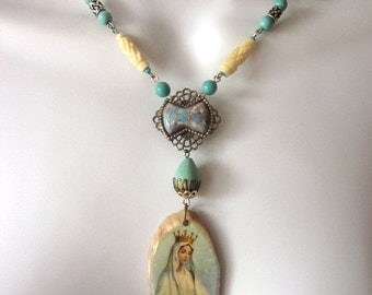 SALE Religious Assemblage Necklace Turquoise Stones Virgin Mary Pendant