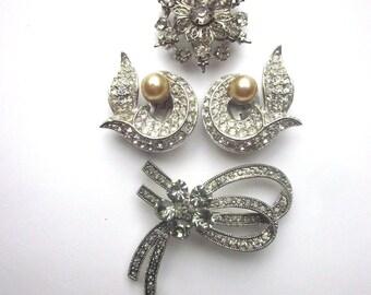 Vintage Rhinestone Brooch Lot Jewelry Destash Clip On Rhinestone Earrings Bow Brooch
