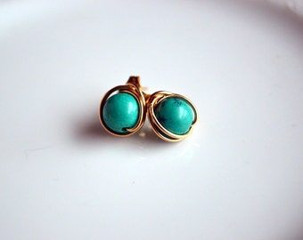 Turquoise and gold wire wrapped post earrings, turquoise stud earrings, turquoise jewelry