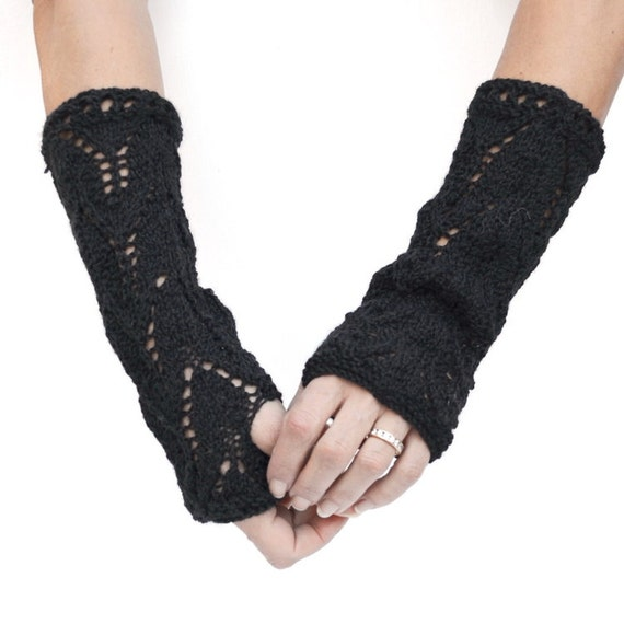 Black lace fingerless gloves hand knit slouchy arm warmers gift for her gift for friend gift under 25 womens accessories New Year Eve party