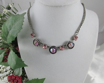 Beautiful Shade of Pink with Antique Silver Setting..Neklace  Swarovski Crystal