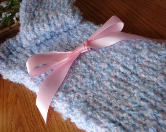 Warm n Fuzzy Cocoon - Knitted Baby Pod with Matching Hat in Cotton Candy