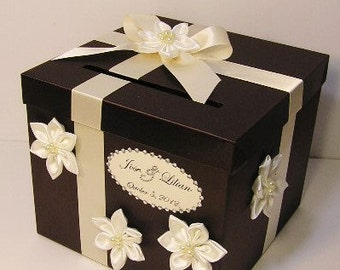 Wedding Card Box Choco Brown and Ivory Gift Card Box Money Box  Holder--Customize in your color/made to order (10x10x9)