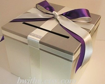 Wedding Card Box Ivory and Pewter / Light Grey (and  Purple ) Gift Card Box Money Card Box Holder-Customize your color
