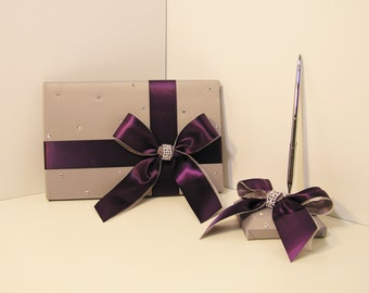 Wedding Guest Book and pen holder set Grey and Plum -made to order ,Custom Made