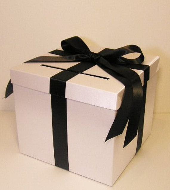 Wedding Card Box White and Black Gift Card Box Money Box Holder ...