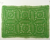 Crochet Green Doily Pillow Topper Table Runner Place Mat
