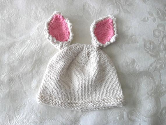 Knitting Pattern Rabbit Ears : Knitted hat pattern baby newborn