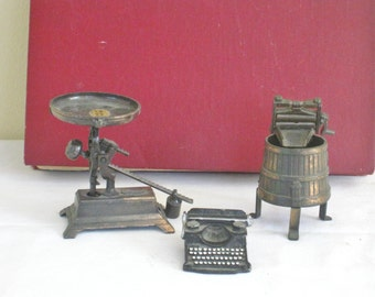 Vintage Miniatures, Small Lot of Three, Metal Pencil Sharpener, Old Fashioned Washing Machine, Pewter Typewriter, Shadow Box Dollhouse Decor