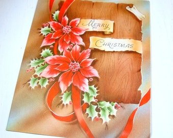 Vintage Christmas Card, Mid Century Greeting Card, Red Poinsettia, Merry Christmas  (877-15)