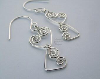 Joined Hearts sterling silver heart earrings MADE TO ORDER, silver wire heart earrings, valentine earrings, mothers day earrings