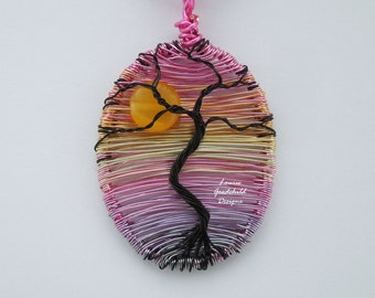 Gnarled Tree pendant, sunset tree, twisted tree, MADE TO ORDER, tree pendant, wire tree pendant, sunrise tree