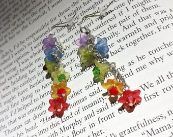 Flower Dangle Earrings Rainbow - Fairy, Costume, Work, Wedding, Spring, Summer, Pride