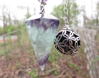 Fluorite Pendulum   Amazing Fluorite point on a Sterling chain  Tibetan ball bead on the end