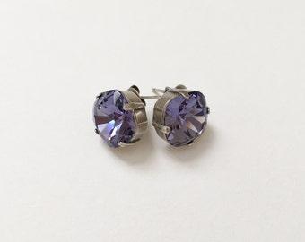 Tanzanite Earrings, 12mm Cushion Cut Swarovski Tanzanite Crystals,  Set In Vintage Patina Antique Silver, Post Setting, Stud Earrings