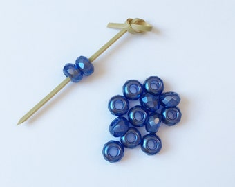 Color Trends Lupine, 9x14mm Large Hole Firepolish Rondelles, Kumihimo Beads, Faceted Beads