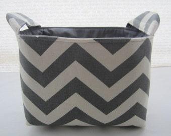 Fabric Organizer Basket Storage Bin Container - Chevron Grey Zig Zag