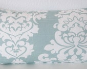 Light blue - damask - lumbar throw or body pillow cover