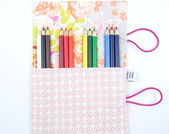 Mini Pencil Case - Sweet as Honey - art party favor, flower pencil roll, Bible Journaling, adult coloring, colored pencil holder