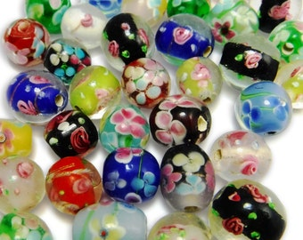 16 pcs Glass Beads Lamp Work Large Floral Glass B-195