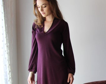 wool loungewear tunic with bishop sleeves and V neck collar in double knit wool knit - HEARTH - made to order