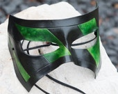 Leather Masquerade Mask Black and Green