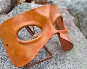 Orange Leather Masquerade Mask