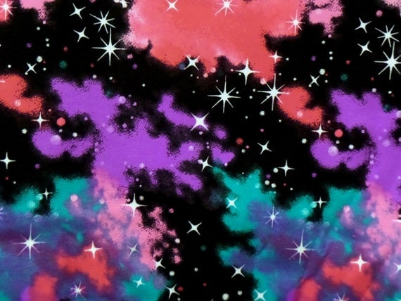 Galaxy space knit fabric northern lights cotton lycra 4 way for Lycra space fabric