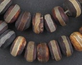 40 Striped Rondelle Tibetan Agate Beads - Striped Agate Beads - Matte Agate Beads - Agate Disk Beads - 11mm Agate Beads (TAG-DSK-BRN-107)